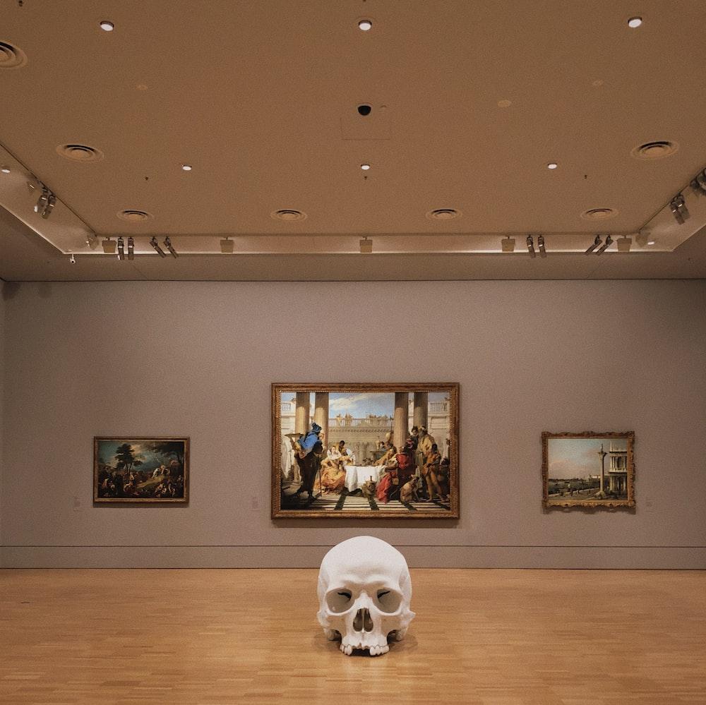 human skull on wooden table