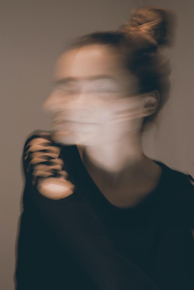 Blurred woman's head