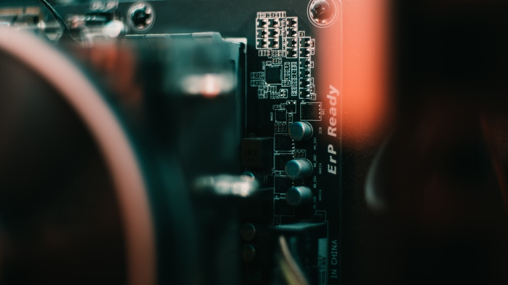 black and gray computer motherboard