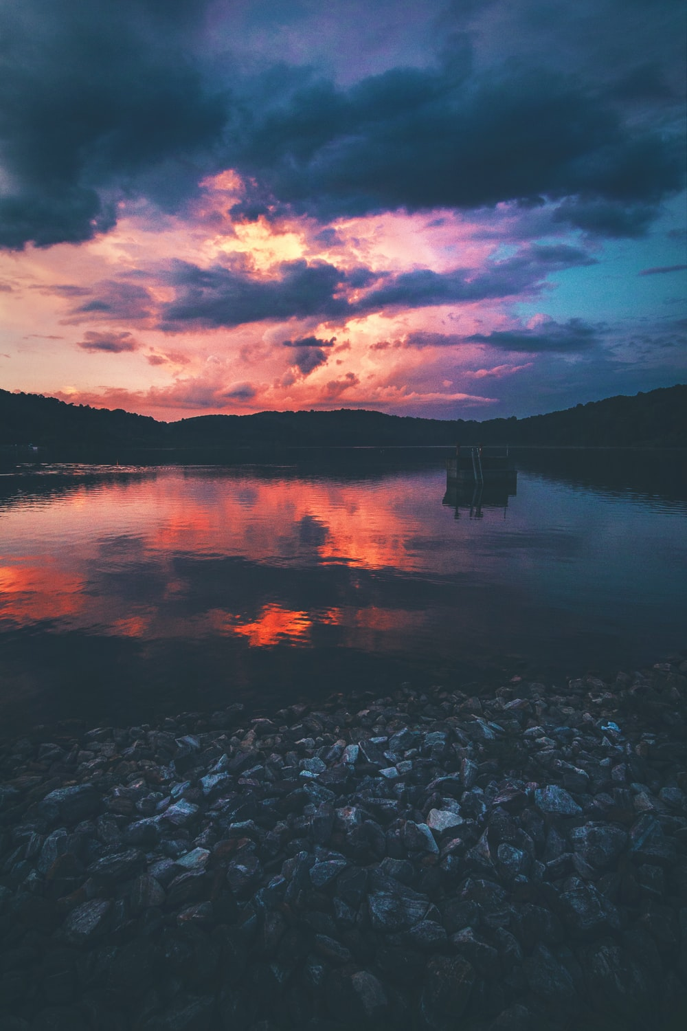 lake under cloudy sky