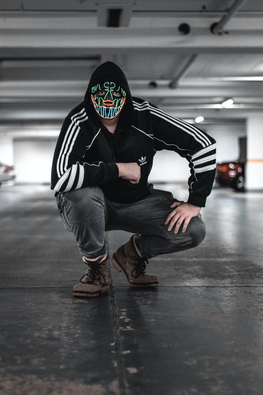 Black And White Adidas Jacket scary man