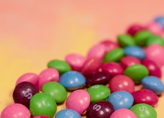 green blue and red m ms candies