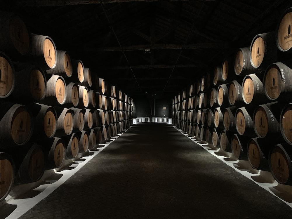 warehouse of barrels