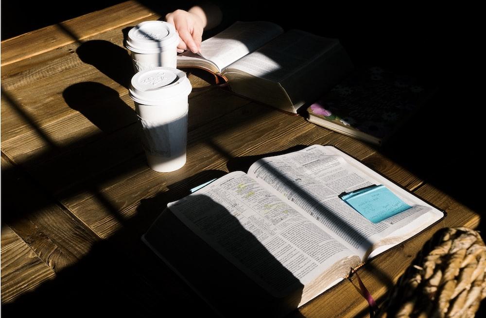 open wide book on desk