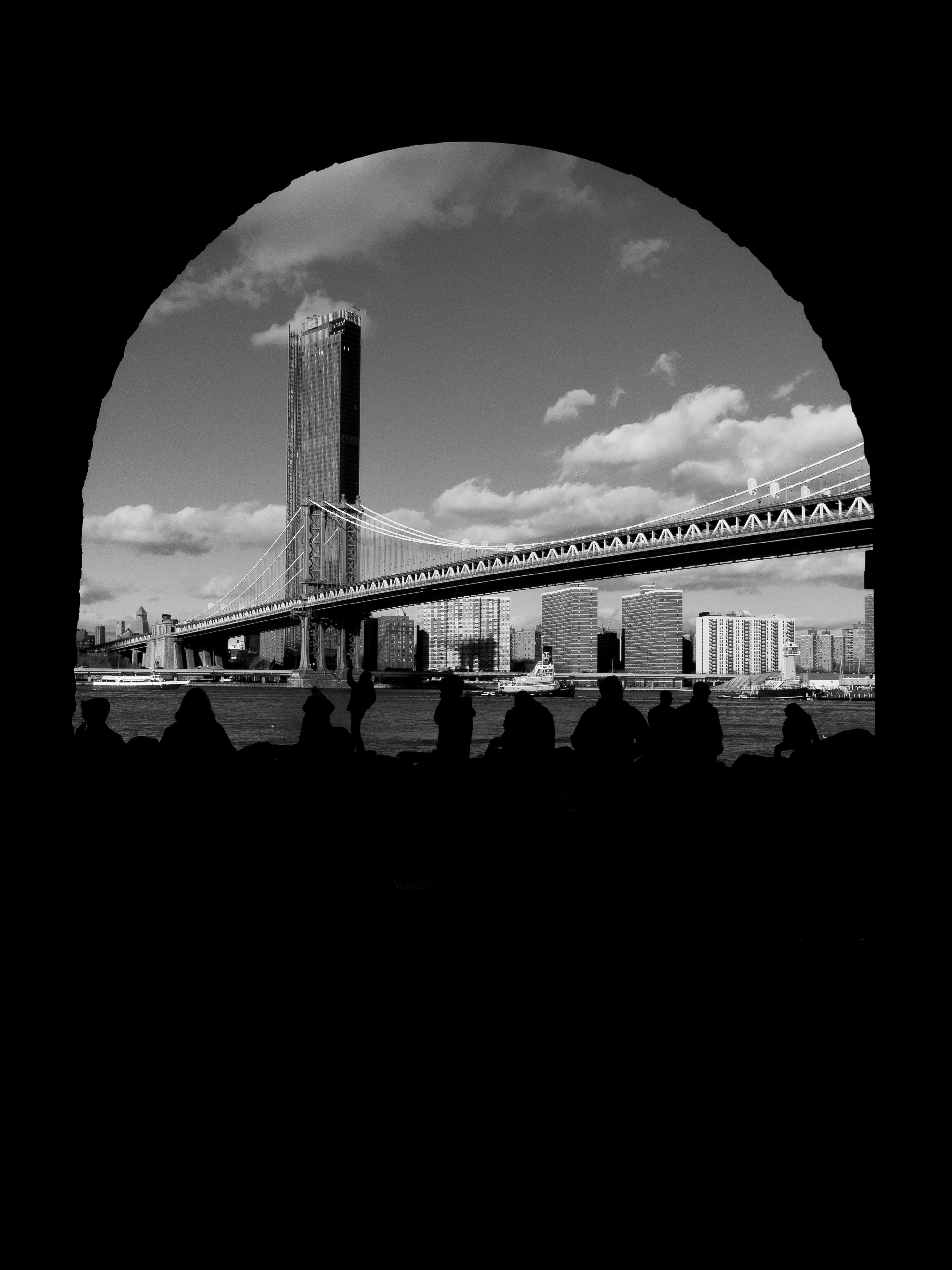 grayscale photo of a city