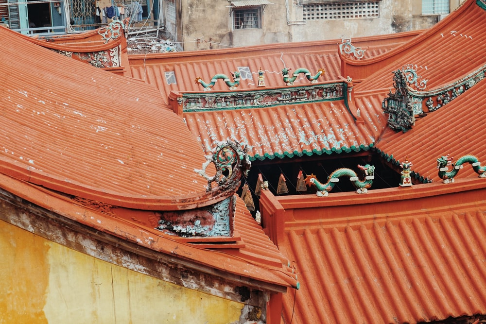 red Chinese-themed roofs