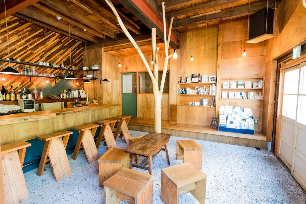 empty brown wooden room