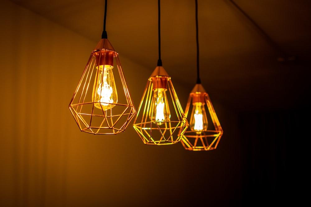 three Edison pendant lamps