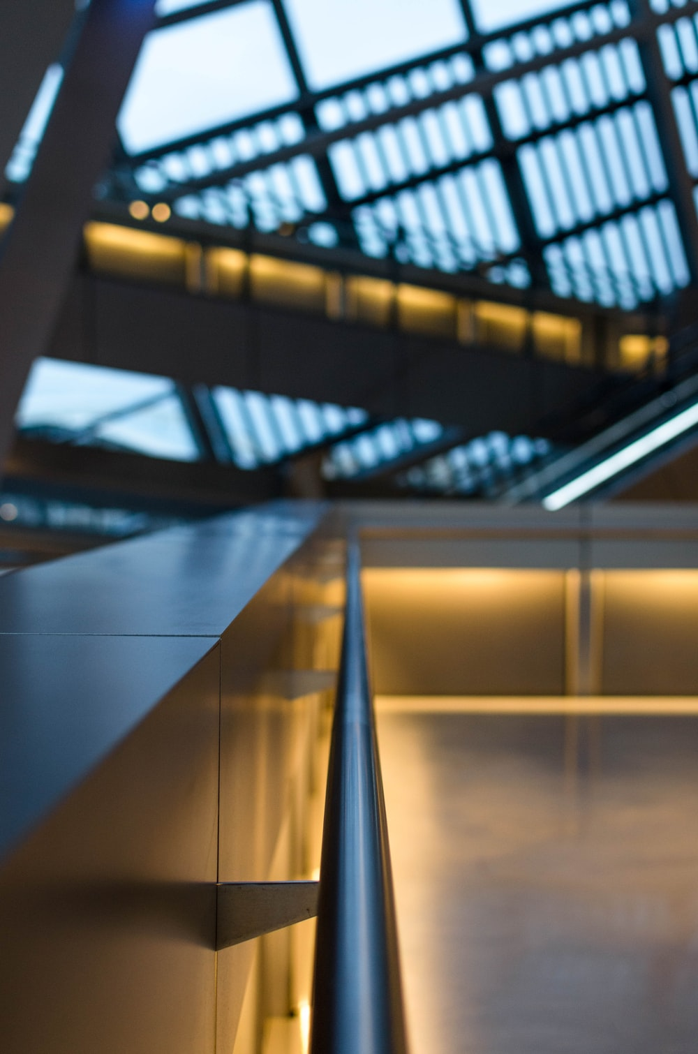 gray stainless steel railings inside building