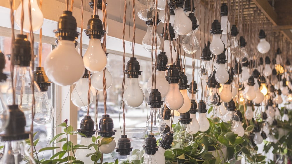 turned-off black and white CFL bulbs