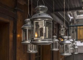 grey candle lantern