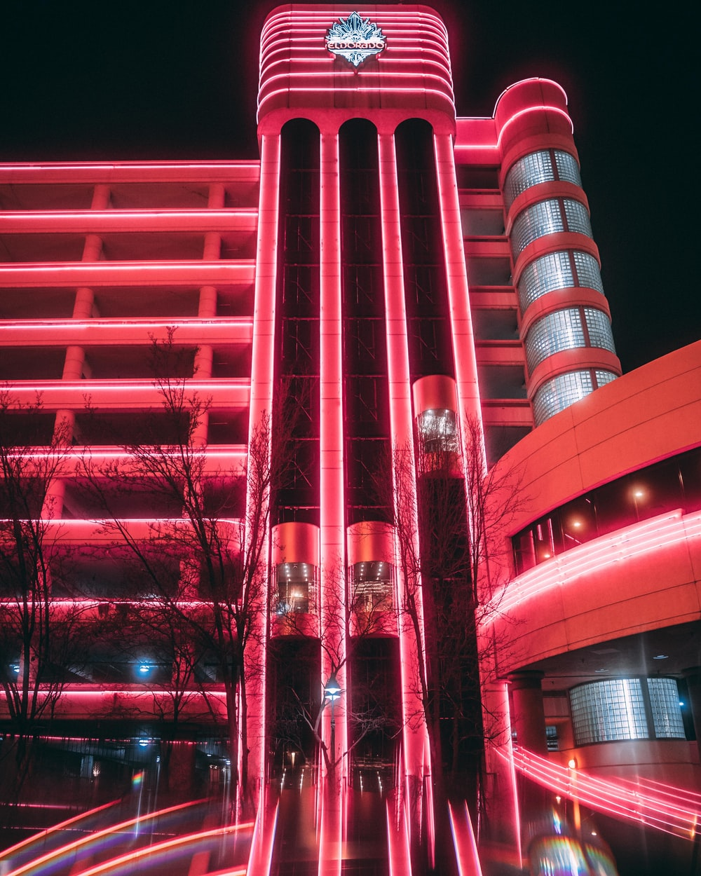 lighted red building