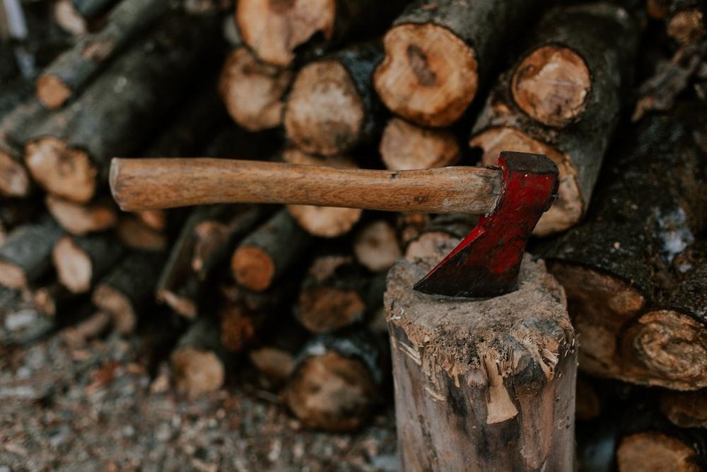 brown Axe on wood log