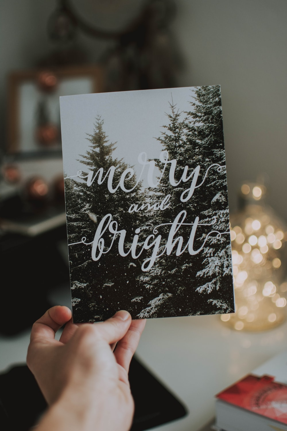 merry and bright printed card