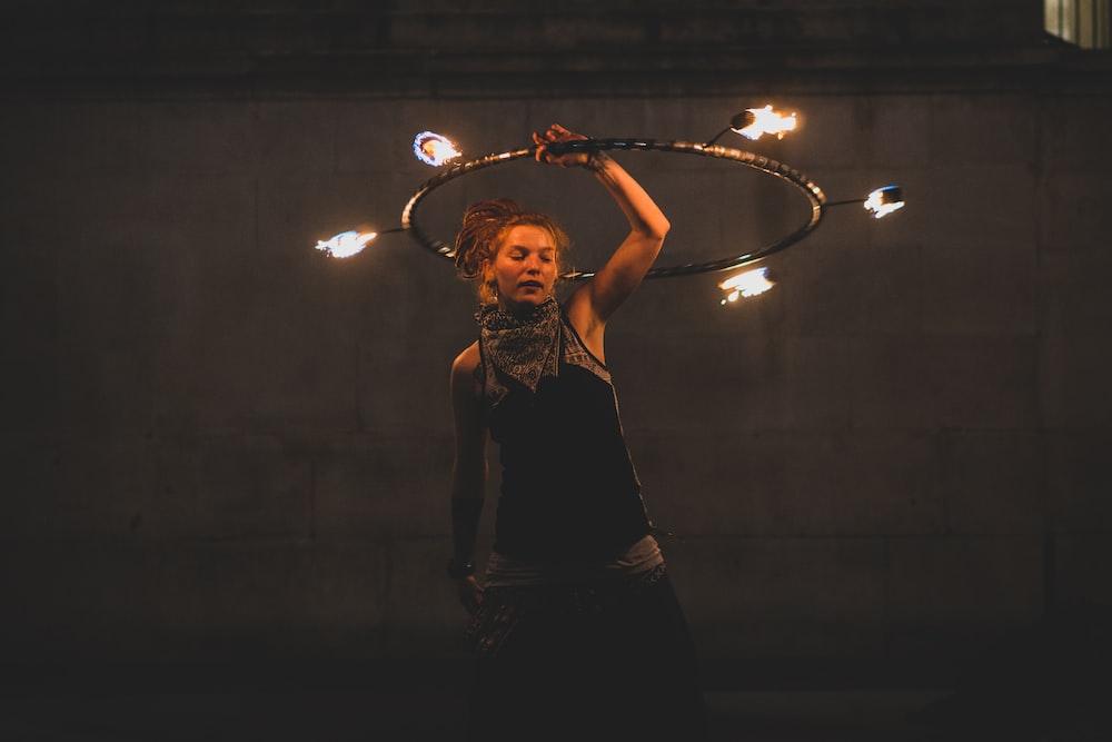 woman performing fire dancing