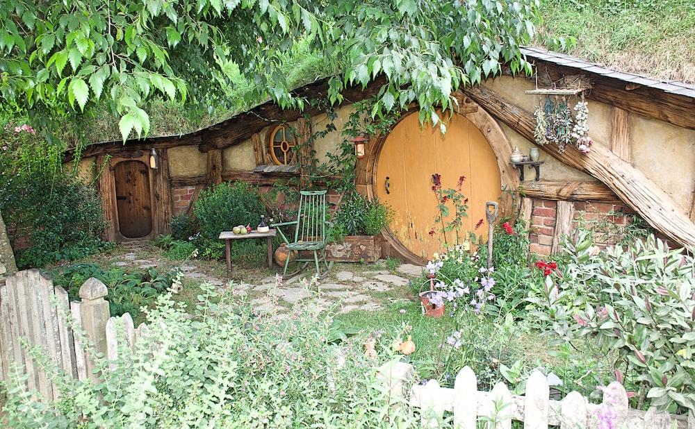 brown wooden under ground house