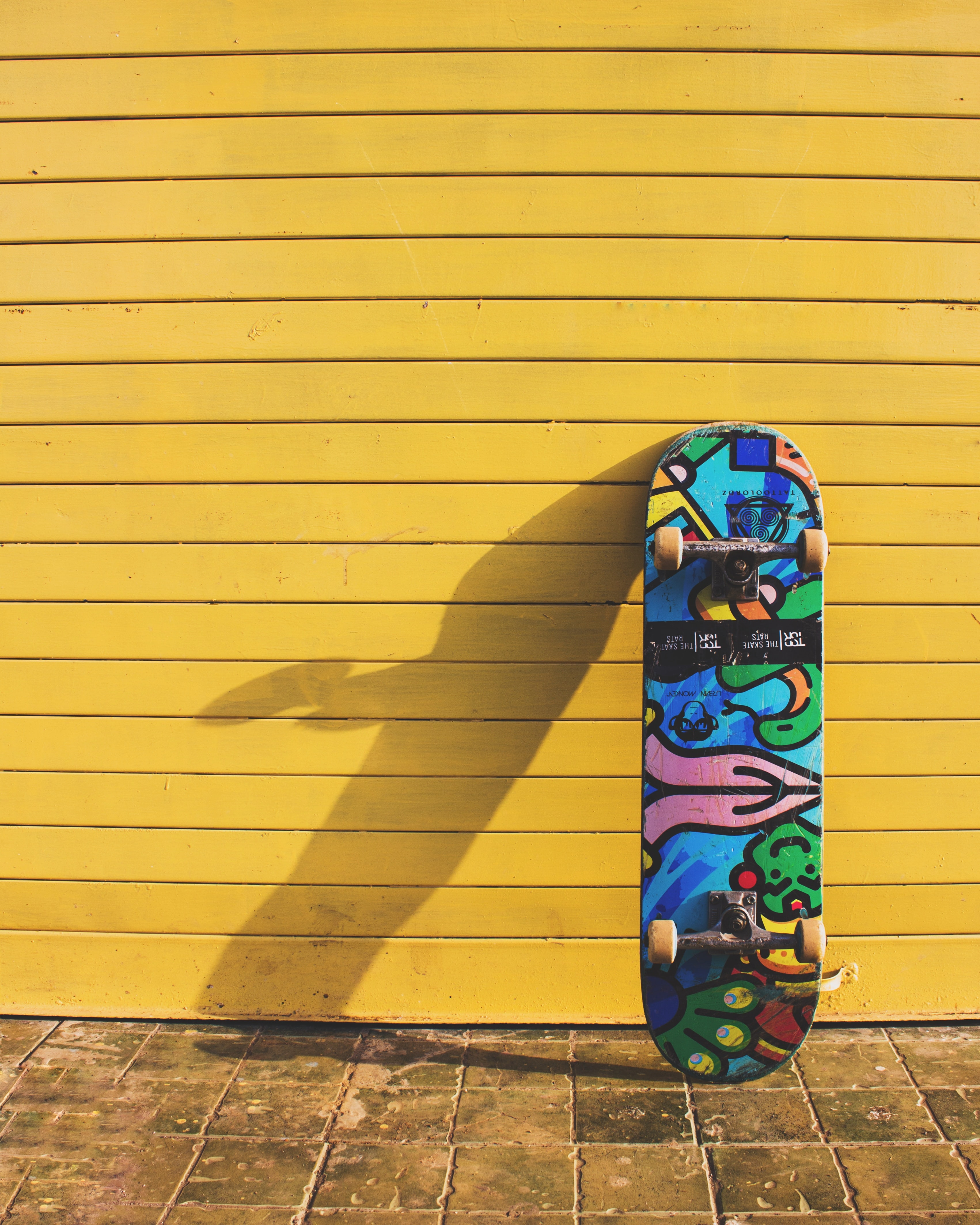 blue, yellow, and red skateboard