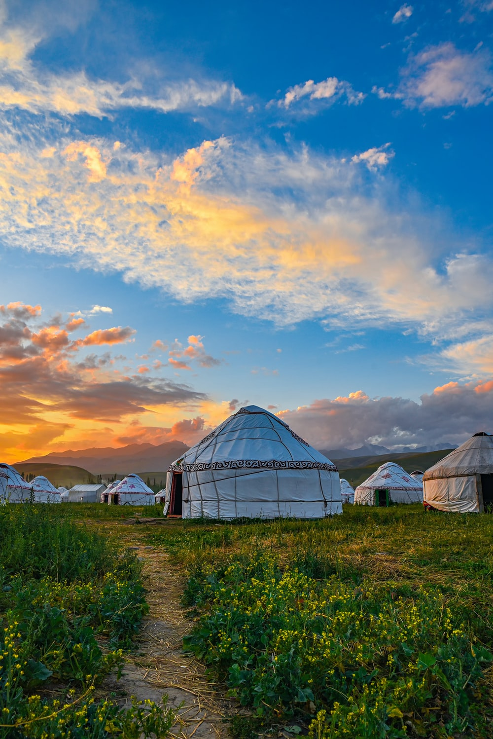 tents on green grass under cloudy sky