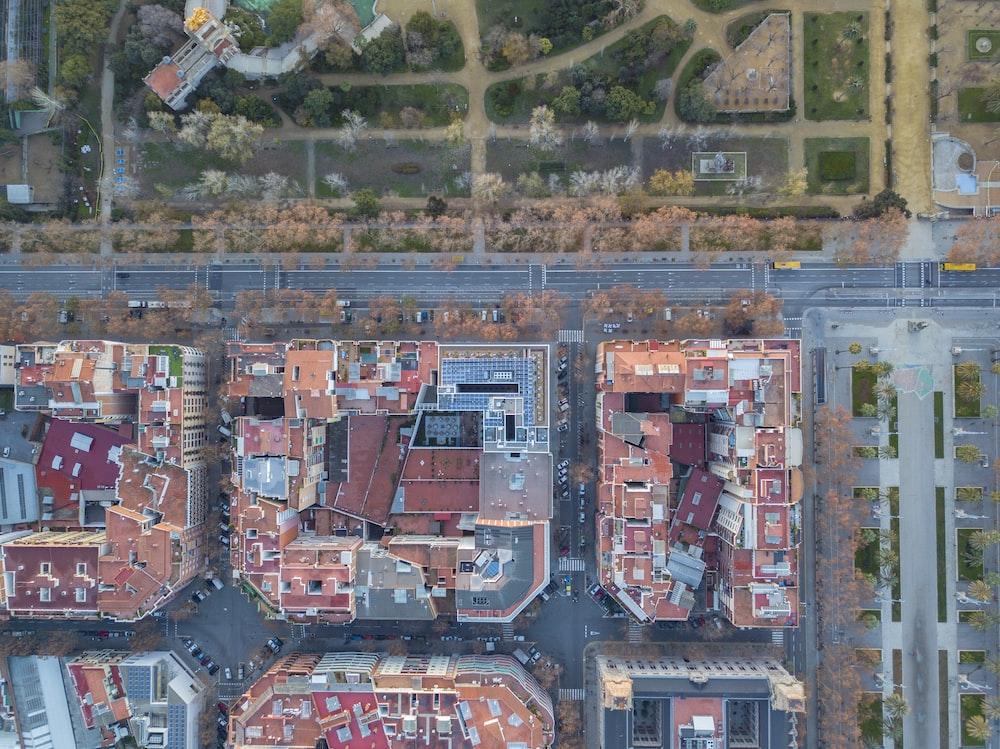 high-angle view of city