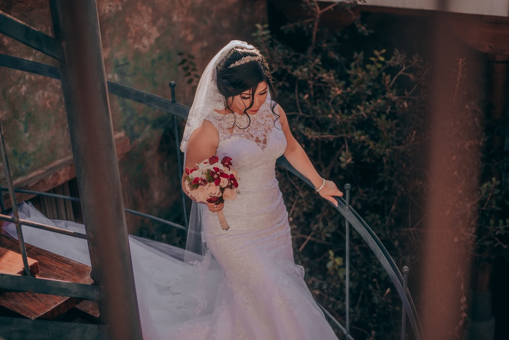 bride walking on stair