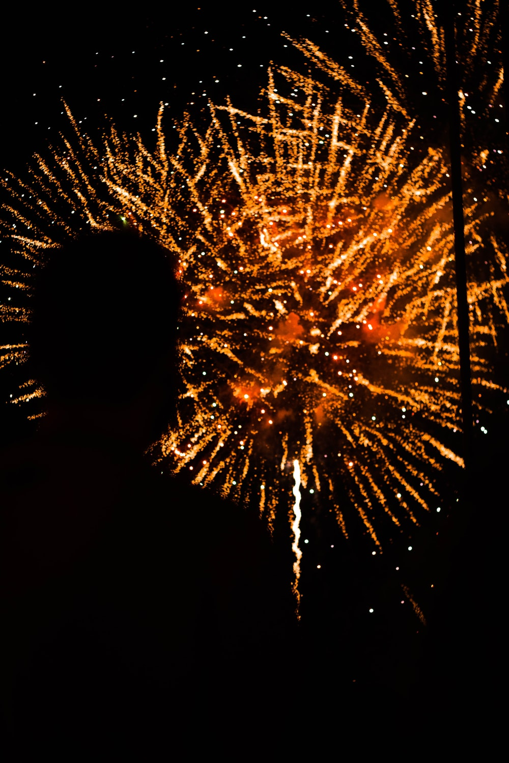 silhouette of man watching fireworks