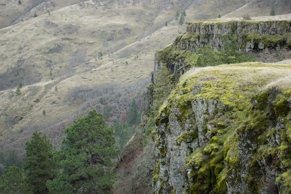 mountain cliff during daytime ]