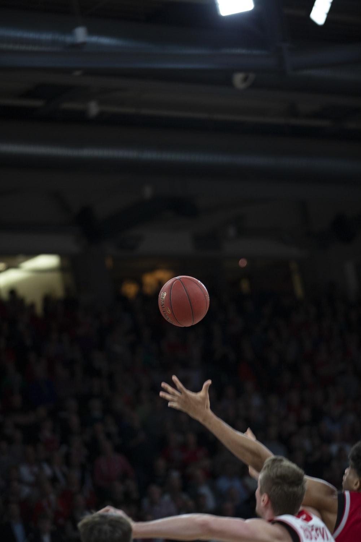 person near basketball