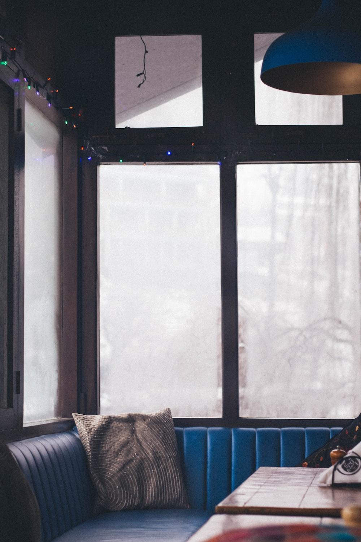 gray pillow on blue corner sofa photo – Free Furniture Image ...