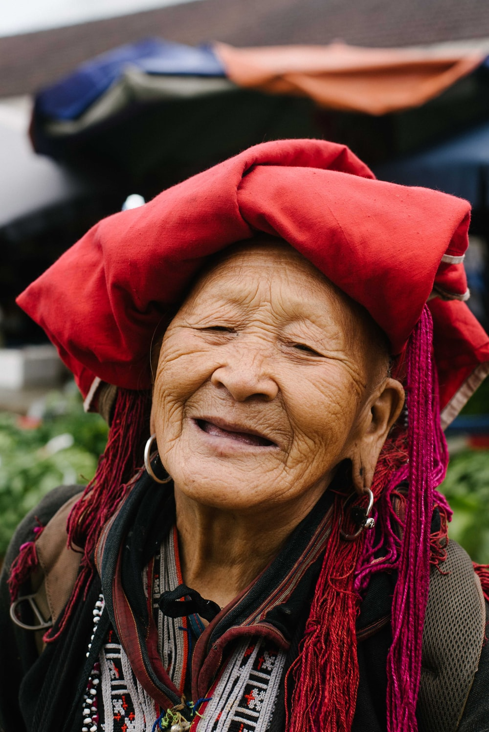 red textile on woman's head
