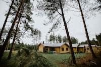 beige cabin in forest