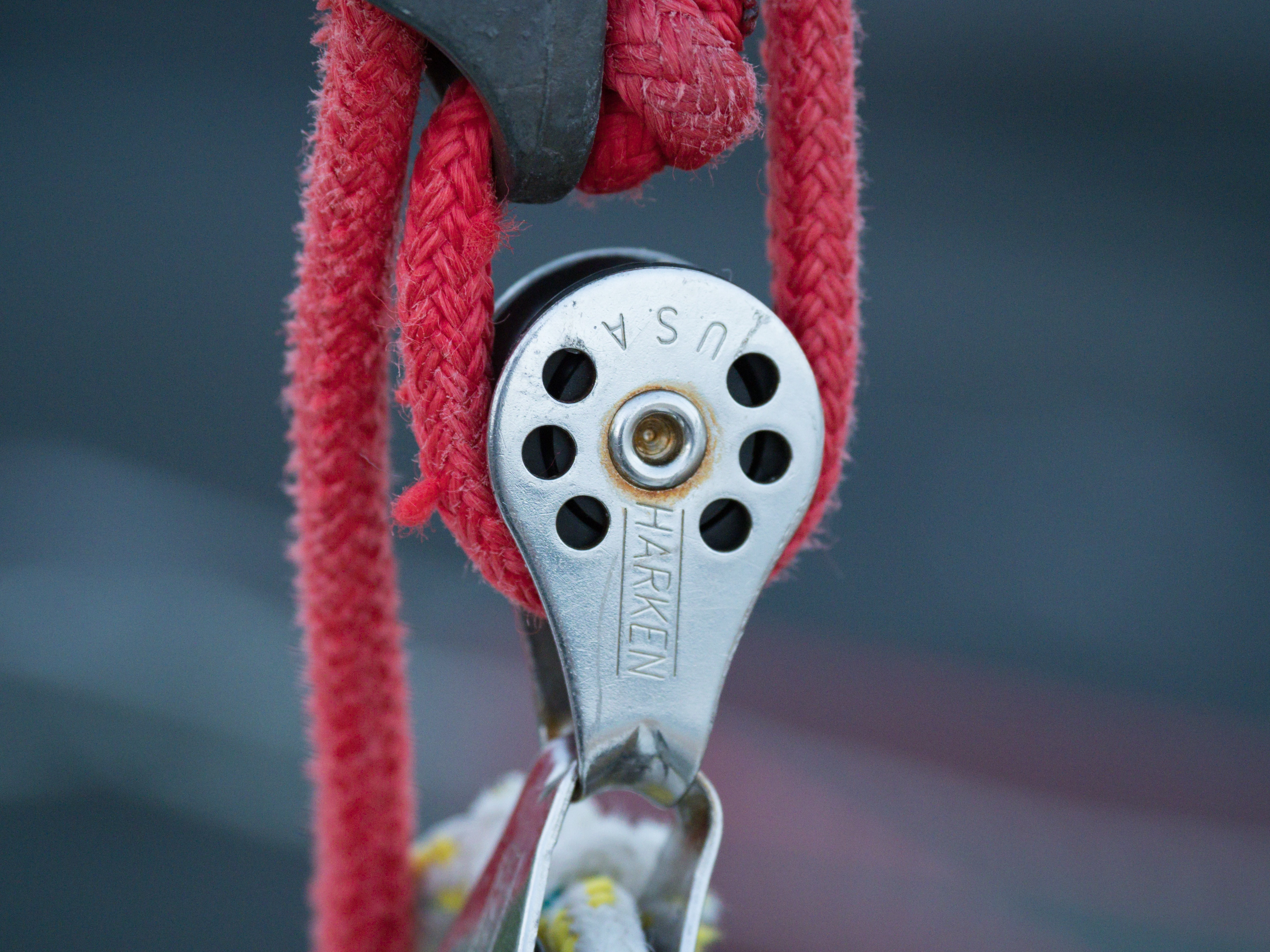 red rope in pulley