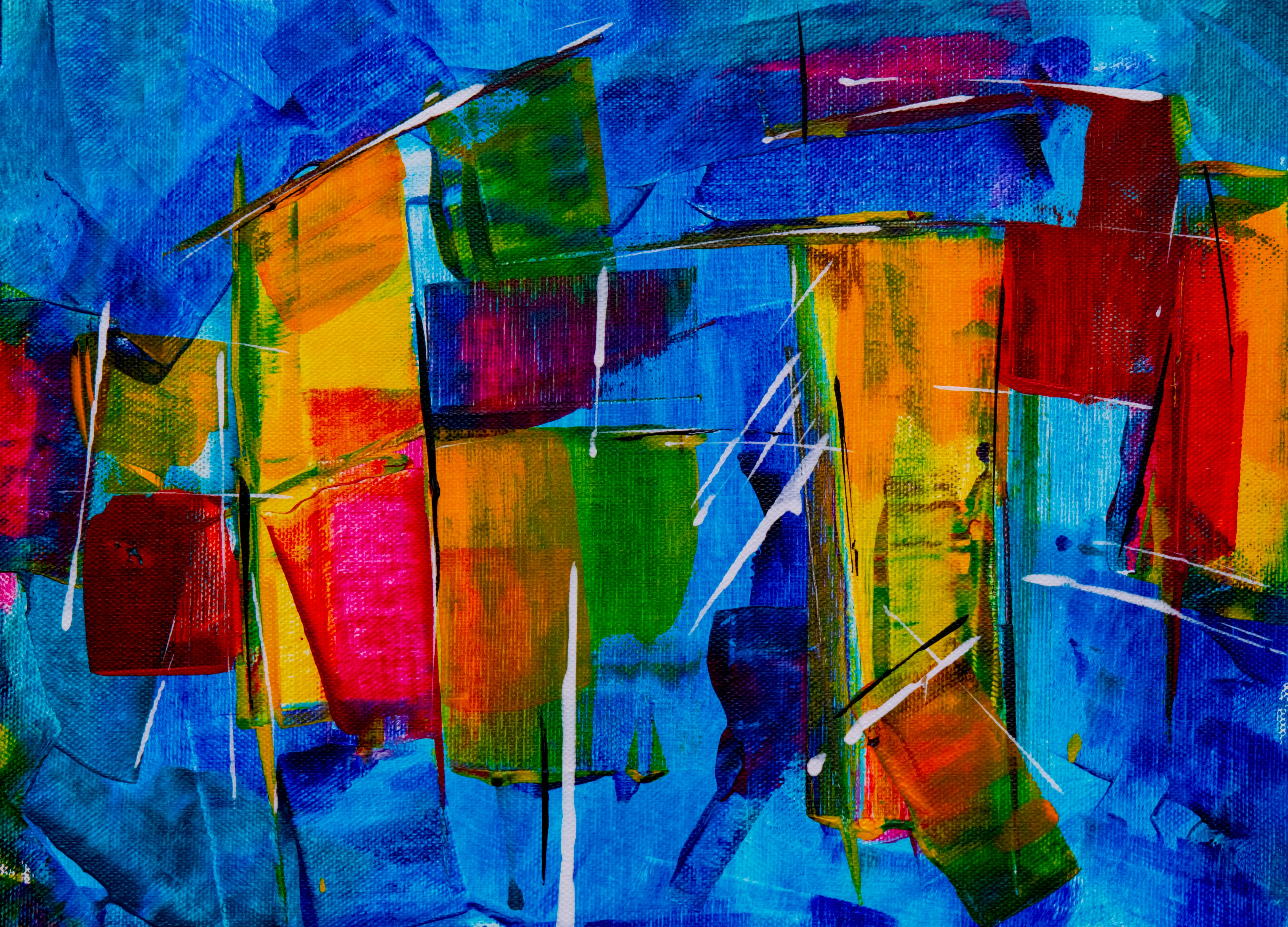 green, blue, and red abstract painting