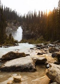 waterfall during golden hour