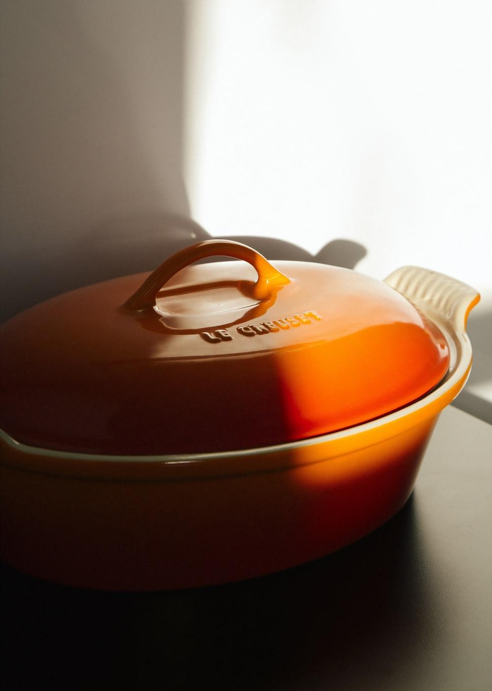 orange casserole dish