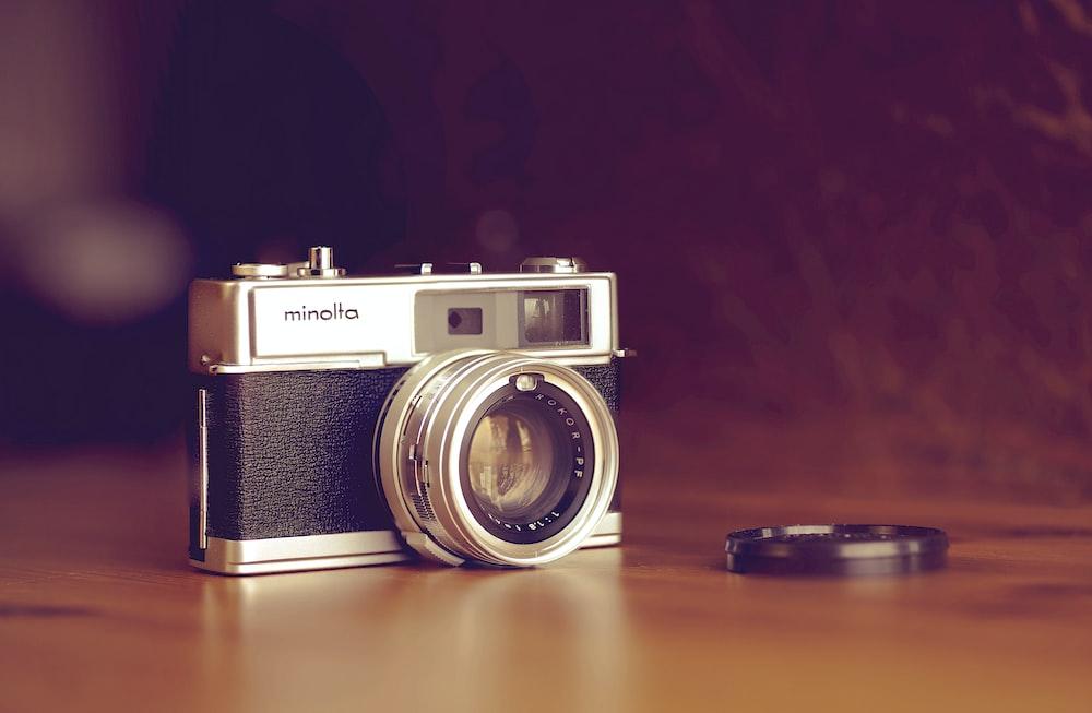 classic Minolta camera on table