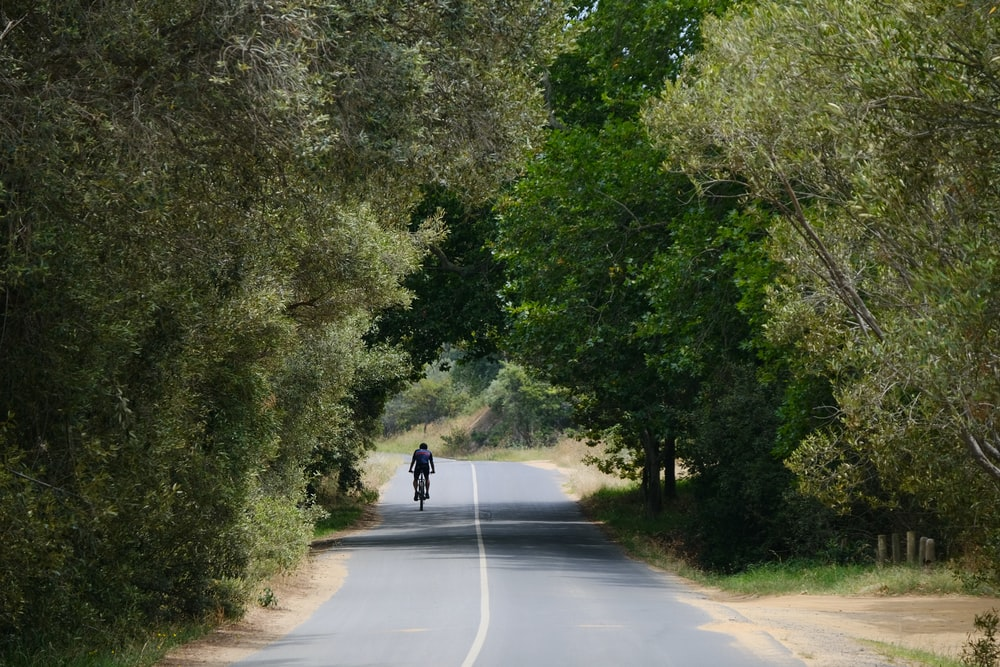 person riding bike on road