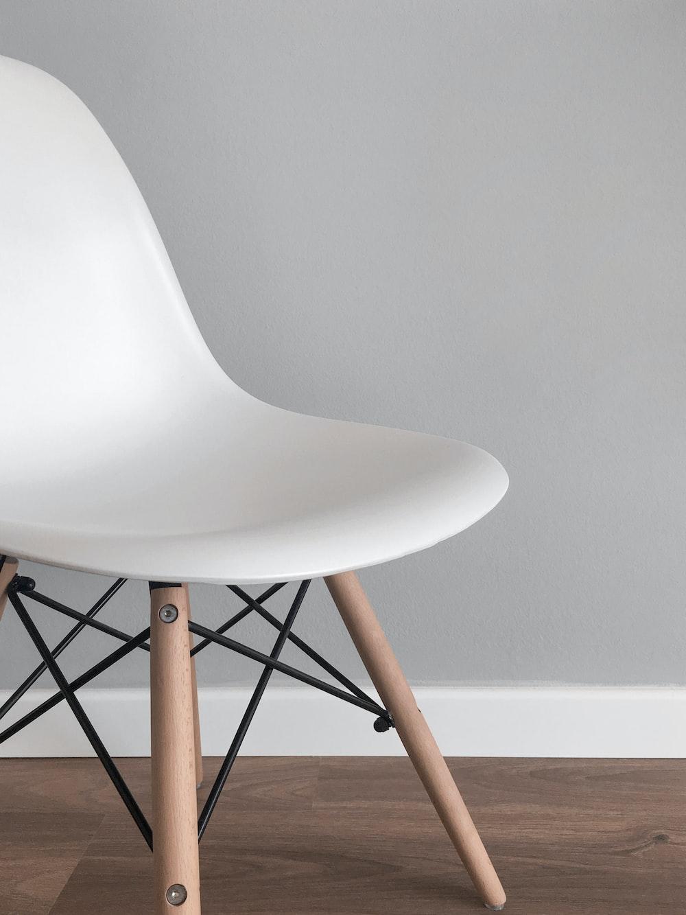 white armless chair