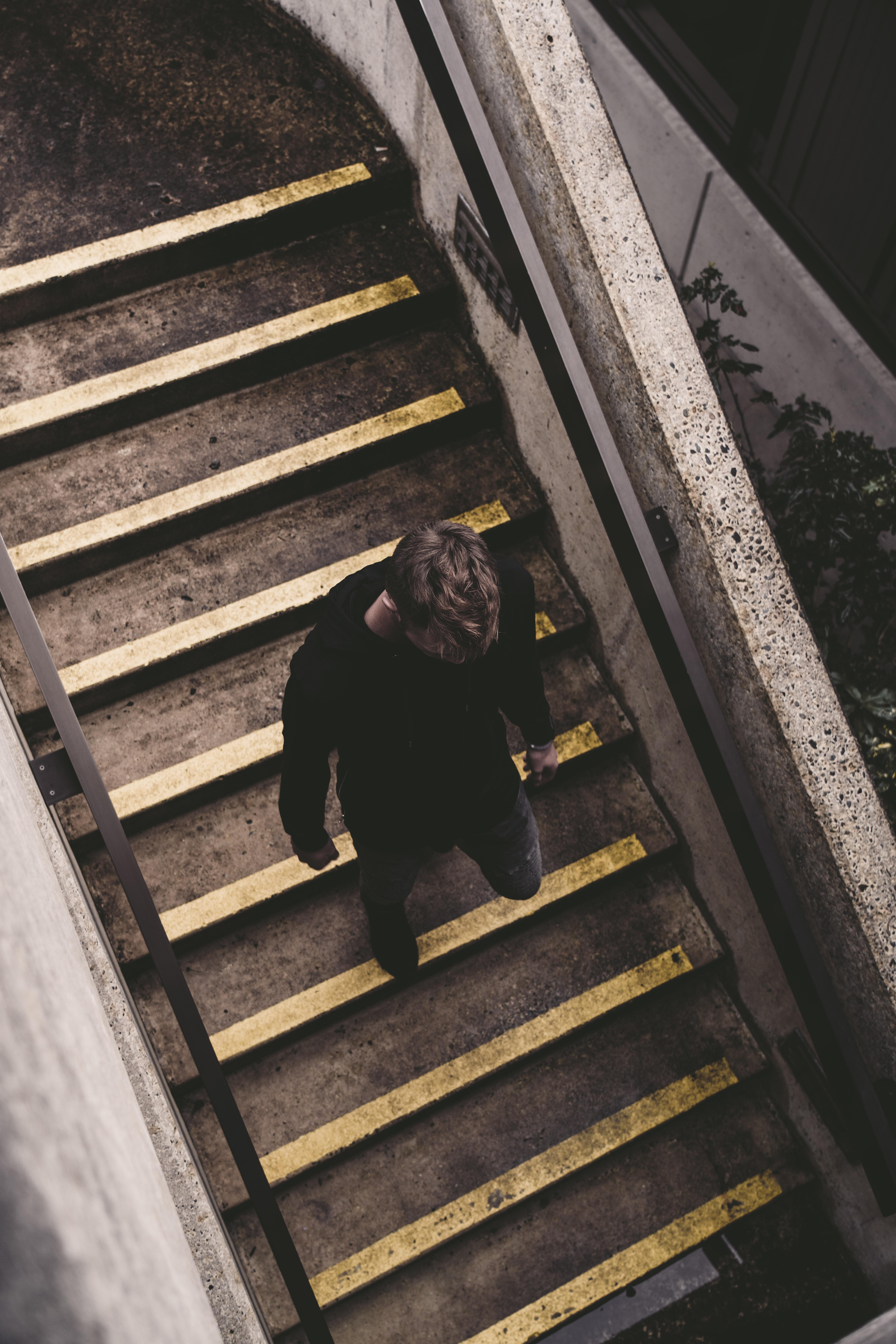 man walking on stairs