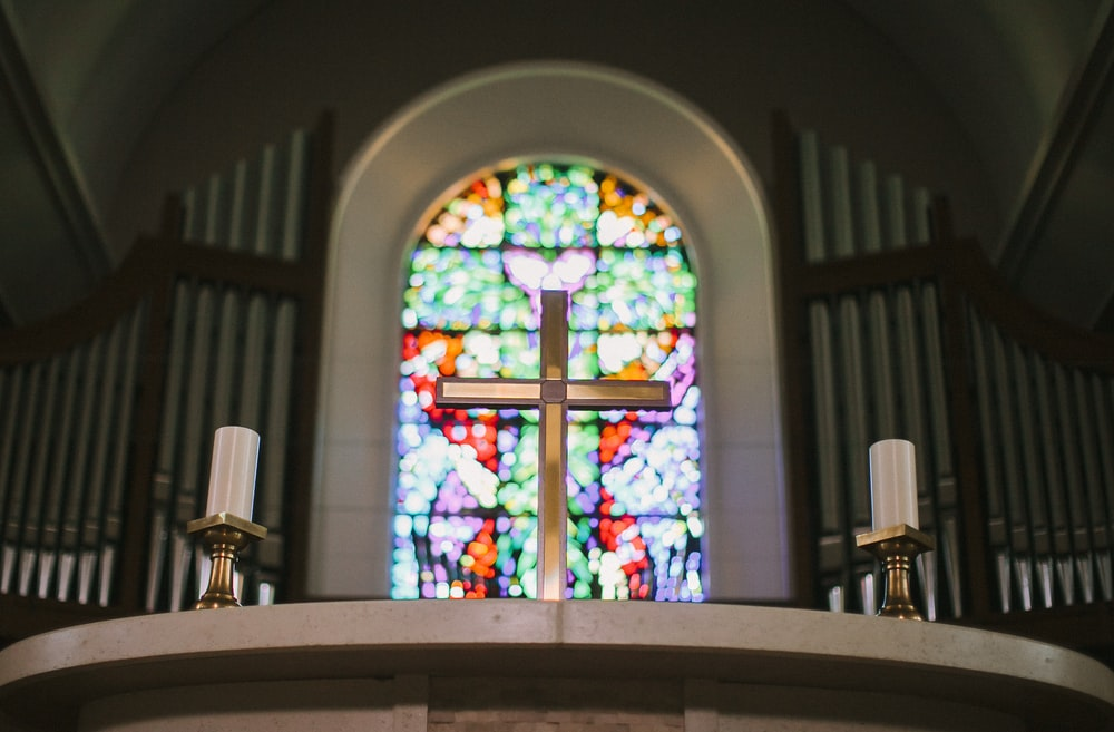 cross stained glass frame
