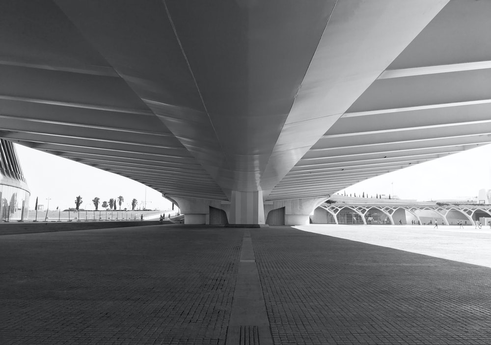 grayscale photo of concrete bridge