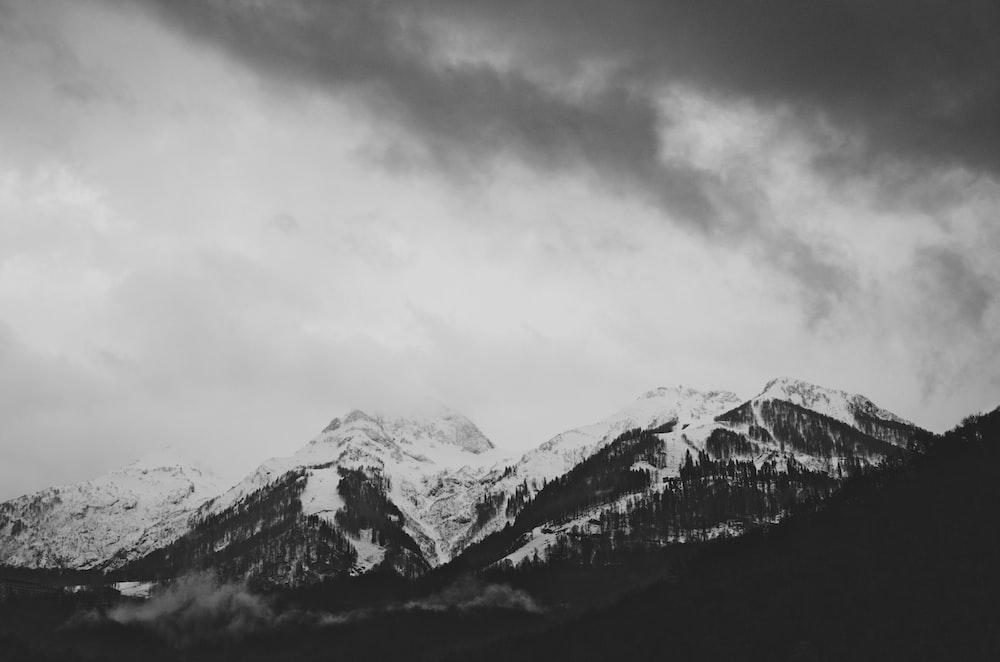snowcapped mountain ranges