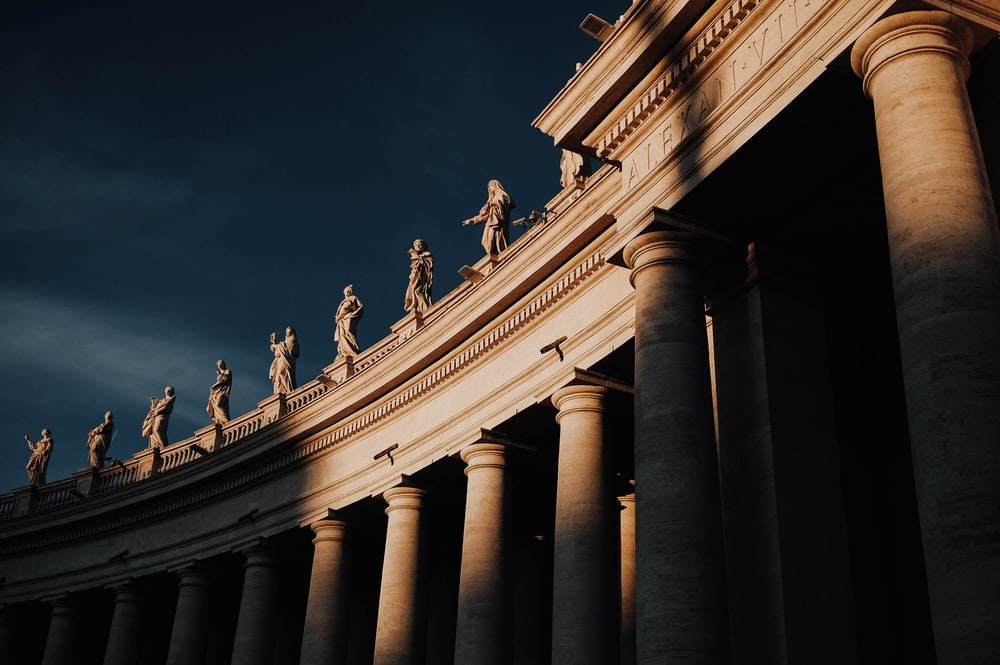 column arena under grey sky