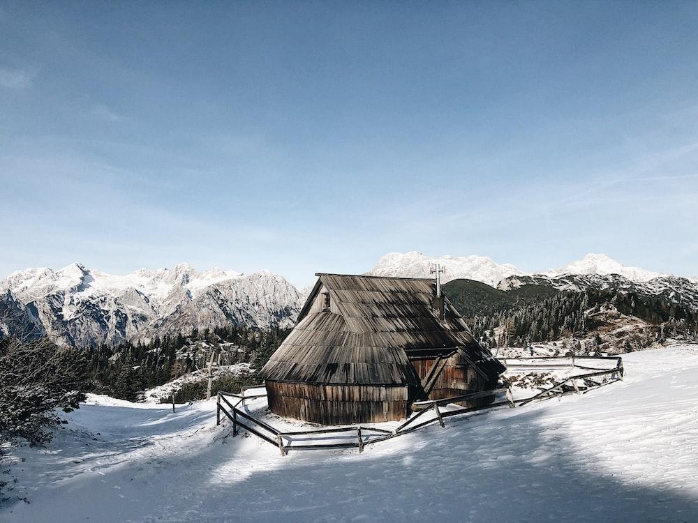 hut on snow covered ground on daylight