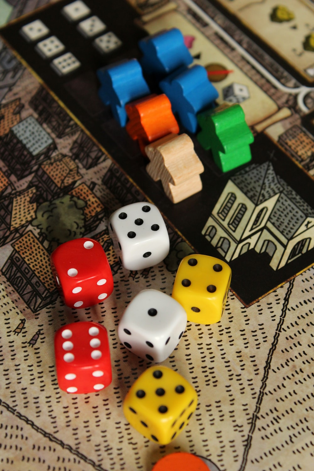 six assorted-color dice