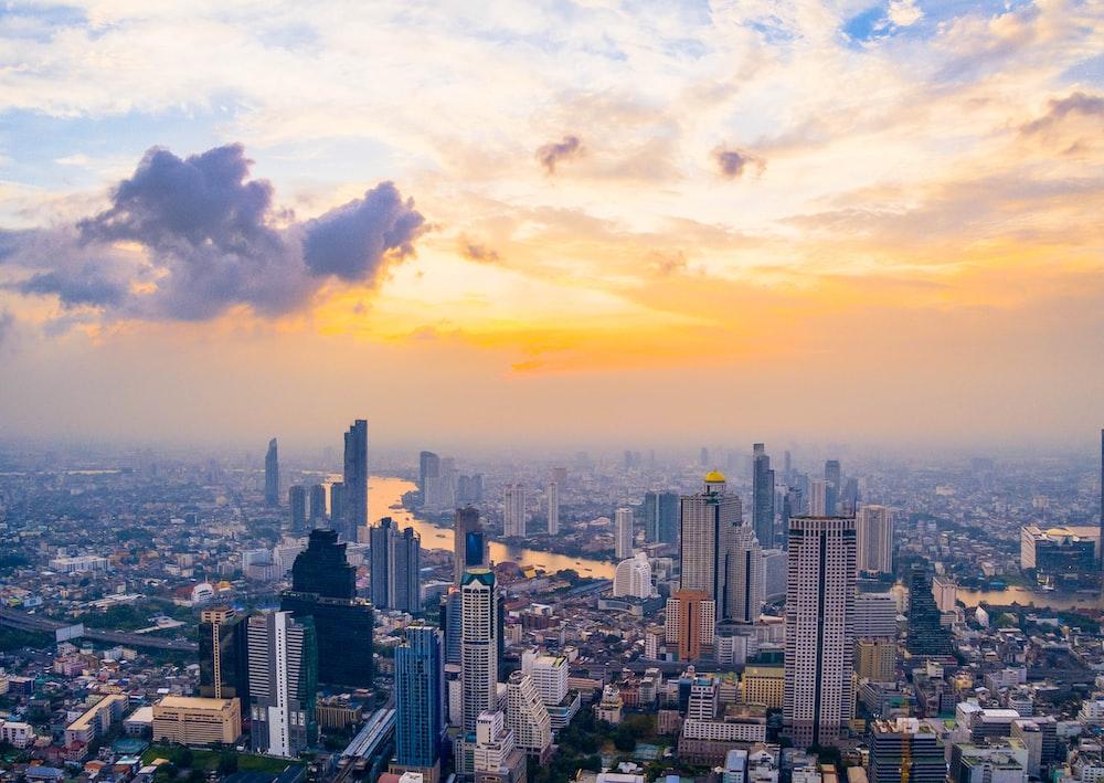 high angle photo of buildings