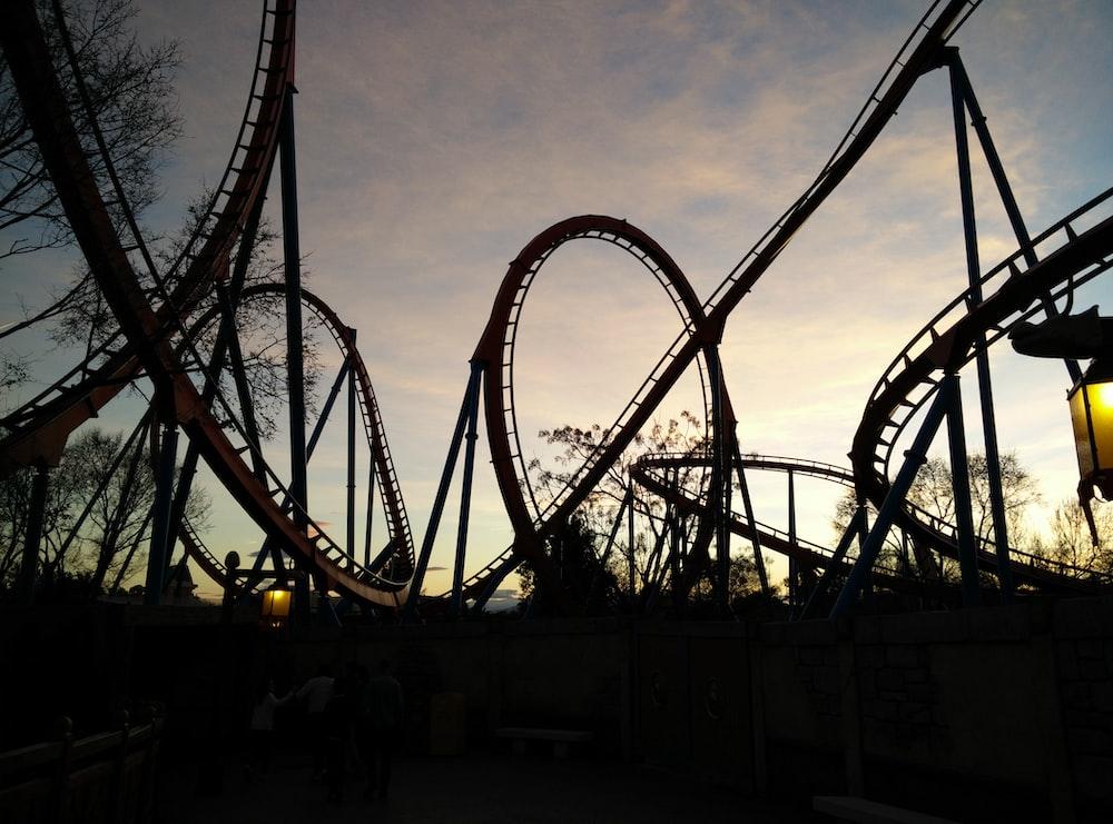 roller coaster ride during golden hour