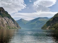 After an amazing trip to the Geiranger Fjord, I took this photo from the back end of the ferry.