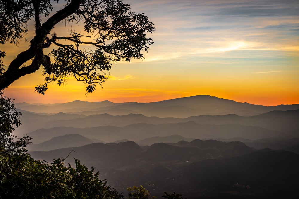 silhouette of mountain range