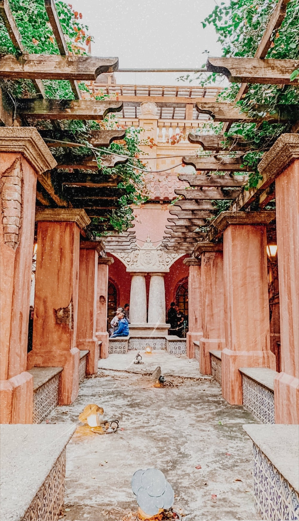 brown wooden pillars with plants