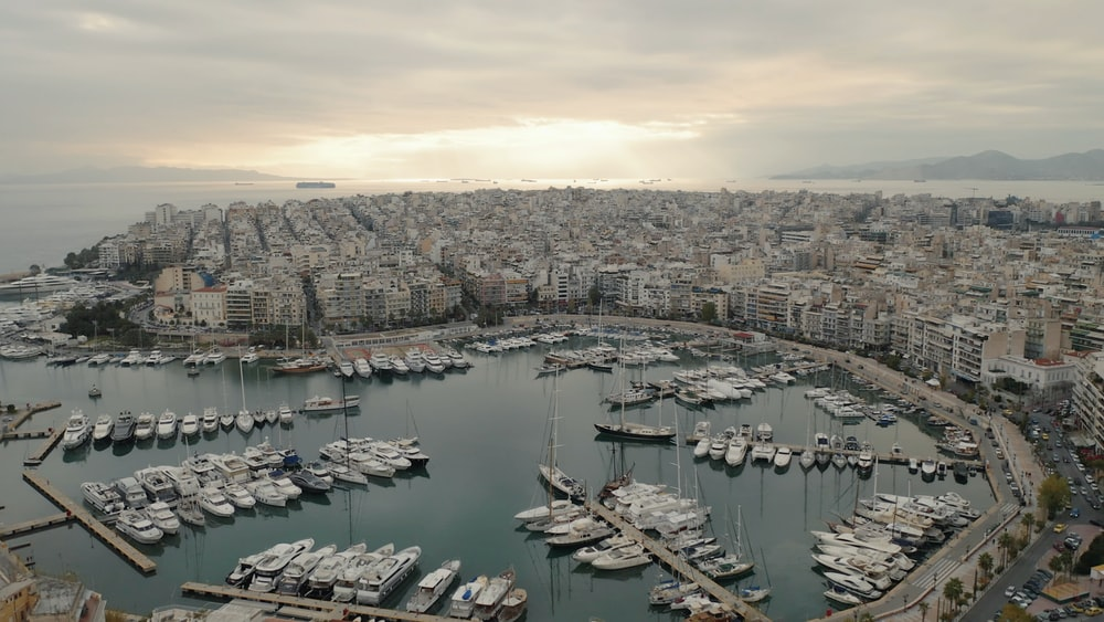 aerial photography of boats in harbour during daytime